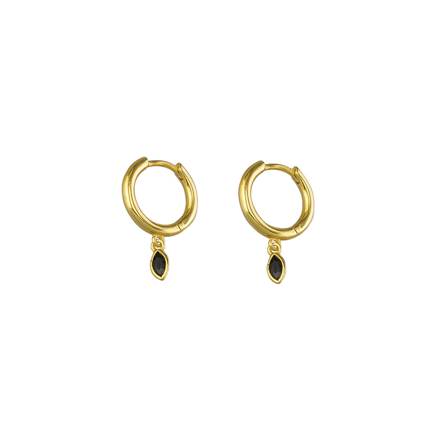 Black Aria Sleepers Sterling Silver - Gold