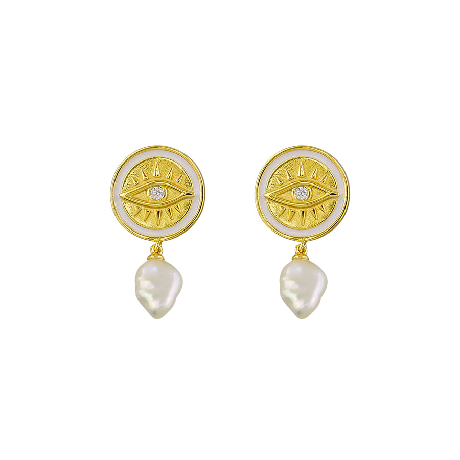 Paige Pearl Earrings Sterling Silver - Gold