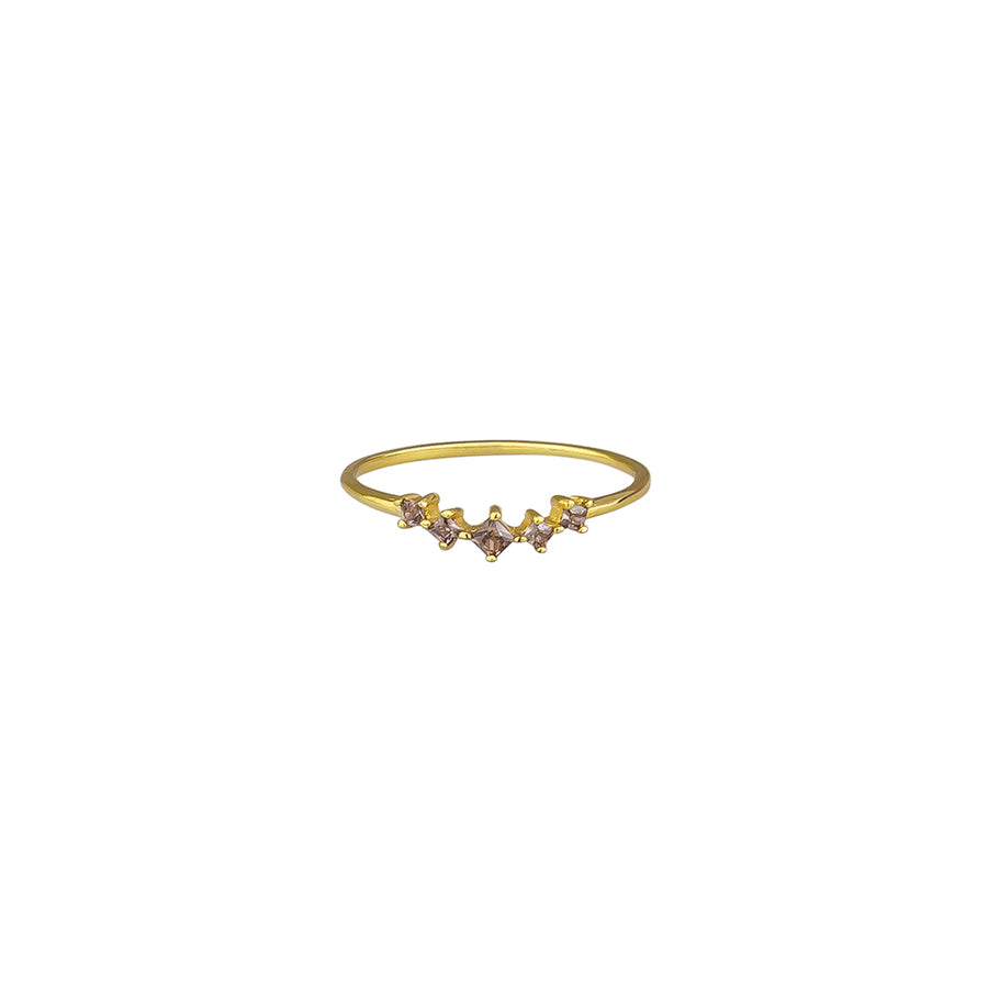 Smoke Crystal Cassia Ring Sterling Silver - Gold