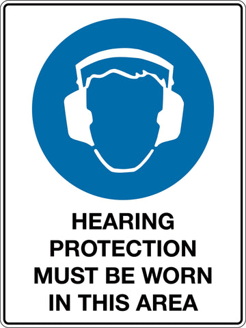 Mandatory Sign 'Hearing Protection Must Be Worn In This Area'