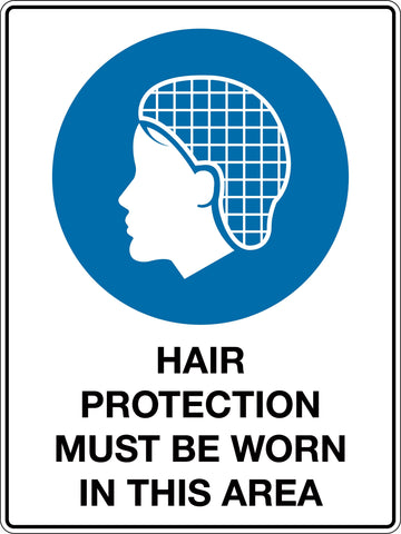 Mandatory Sign 'Hair Protection Must be Worn In This Area'