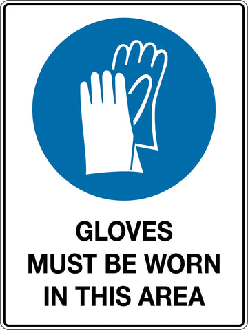Mandatory Sign 'Gloves Must be Worn In This Area'