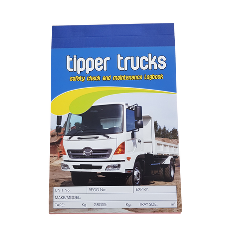 Tipper Trucks Carbonless Safety Pre Start Checklist and Maintenance Logbook