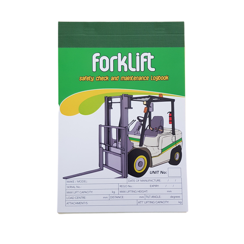 Forklift Carbonless Single Shift Pre Start Safety Checklist and Maintenance Logbook