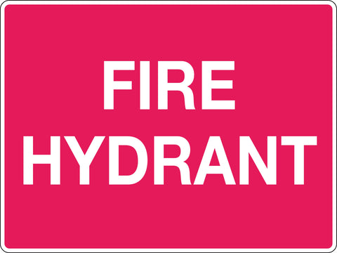 Fire Signs 'Red/Wht, Fire Hydrant'