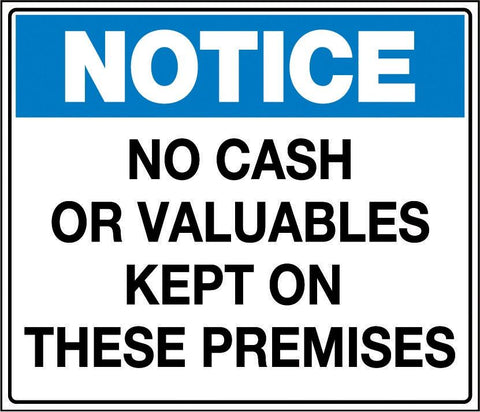 Label, Packet of 4, 'No Cash or Valuables Kept on These Premises'