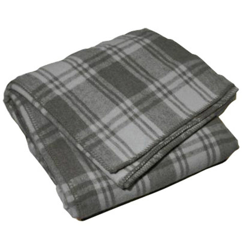 Blanket Wool Rich 70% Grey Check Single