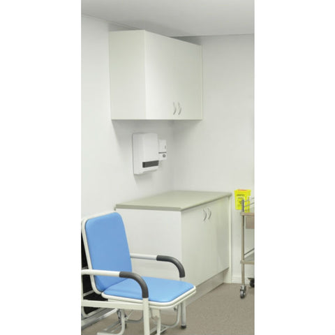 First Aid Room Cupboard Combo, Under desk & Overhead Cupboard With Bench.