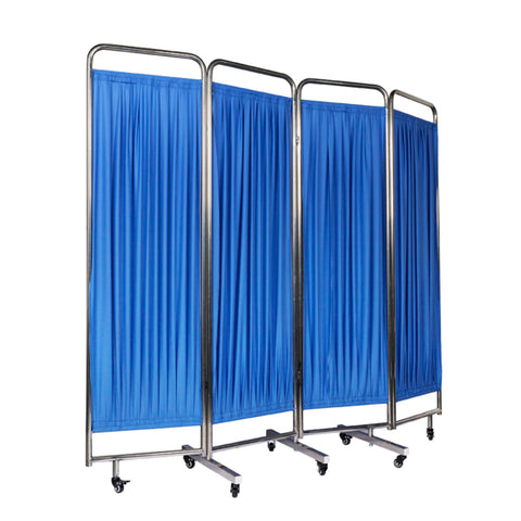 Privacy Screen Four Fold With Wheels Stainless Steel Frame