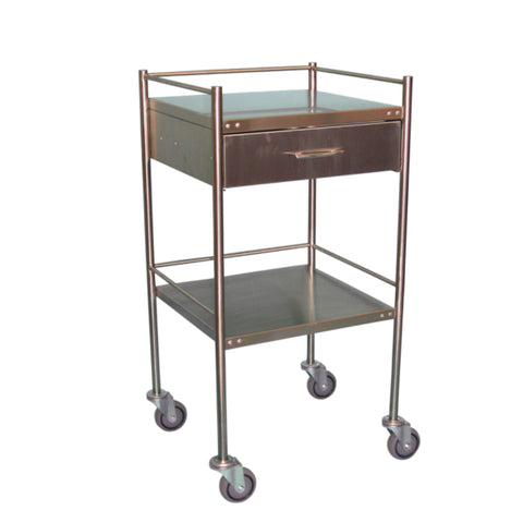 Trolley Stainless Steel Construction 2 Shelves With Wheels And Pull Out Drawer
