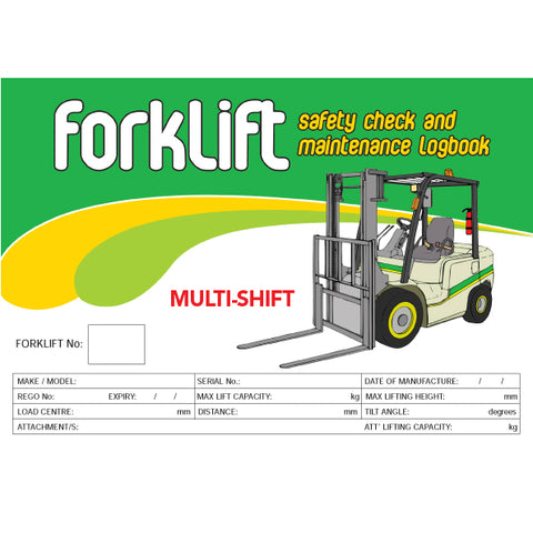 Forklift Multi Shift Safety Check and Maintenance Logbook