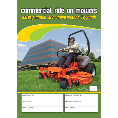 Ride On Mower Safety Pre Start Checklist and Maintenance Logbook