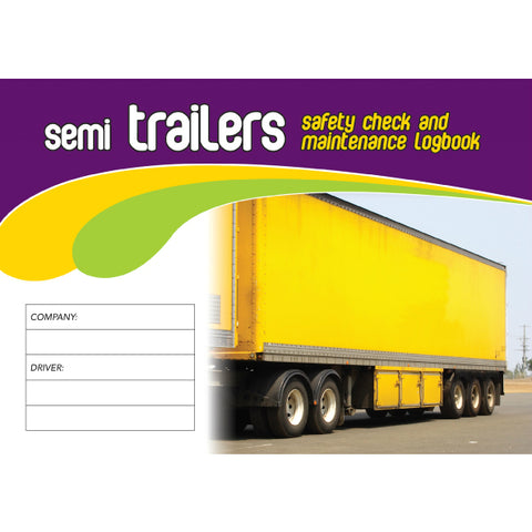 Semi Trailers Safety Pre Start Checklist and Maintenance Logbook