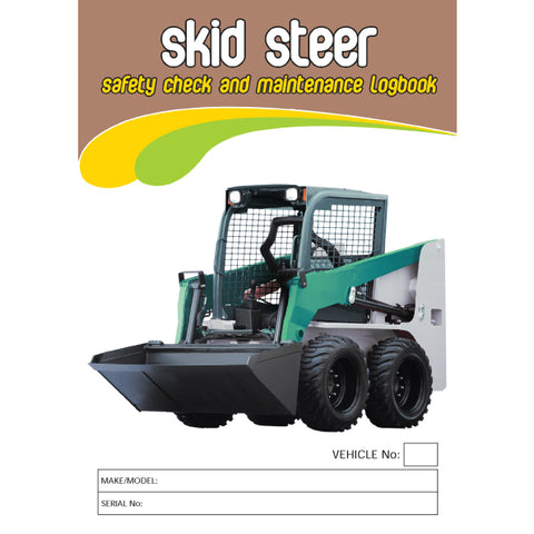 Skid Steer Carbonless Safety Pre Start Checklist and Maintenance Logbook