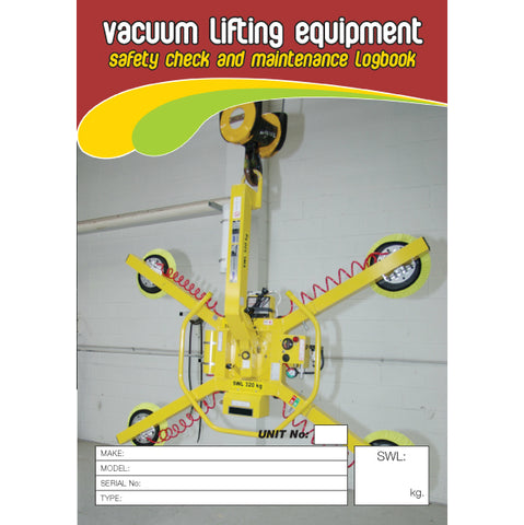 Vacuum Lifting Equipment Safety Check And Maintenance Logbook