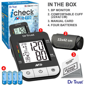 Dr Trust USA Afib iCheck BP Monitor Blood Pressure Machine BP Testing 119