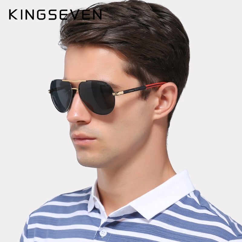 KINGSEVEN Men Vintage Aluminum Polarized Sunglasses