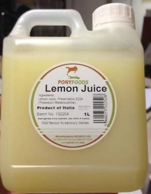 1 Litre Lemon Juice - Pony Foods ingredients for takeaway sauce kebab shops 1000 - 181141653338
