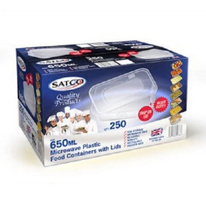 Satco 650ml Plastic Containers Tubs Clear With Lids