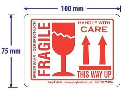 500 Large Fragile This Way Up Handle With Care Stickers Labels Roll 100m x 75mm - 171012487355