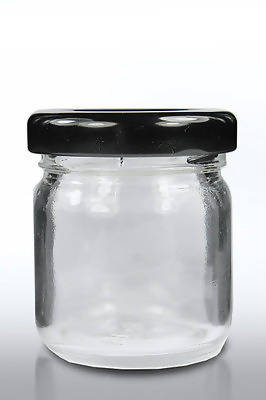 50 X 30ml small 1oz 28g MINI GLASS JARS BLACK LIDS Jam WEDDING FAVOURS HAMPERS