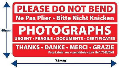 10 Please Do Not Bend Stickers address Labels Photographs Ne pas plier french