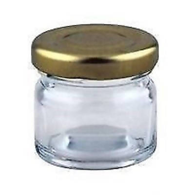 100 X 30ml small 1oz 28g MINI GLASS JARS GOLD LIDS Jam favours Hampers Jam hotel - 181480608826