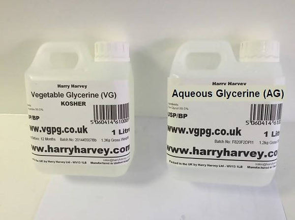 1 Litre Vegetable Glycerine VG & 1 Litres Aqueous Glycerine AG USP Grade