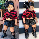 Fashion Newborn Kids Baby Girl 0-24M Xmas Clothes T-shirt Tops+Leather Skirt Dress Set