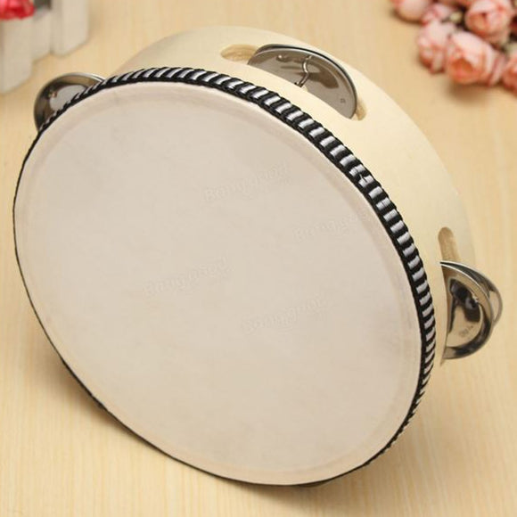 6 Inch Sheep Skin Head Tambourine Drum Musical Instrument Children Educational Round Percussion Dance Party School Toys