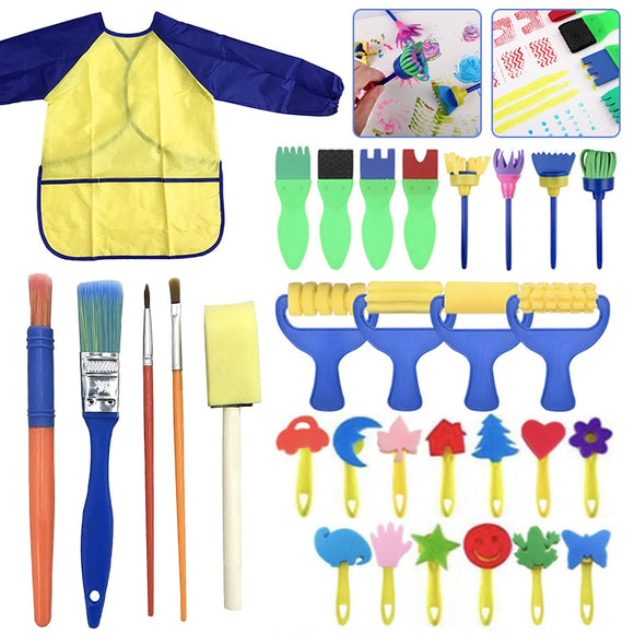 31pcs/set Kids Art Craft Sponge Painting Brushes Child Painting For Toddlers Toy DIY Graffiti Drawing Educational Toys Supplies