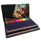 In Iron Box 72-Color Water-soluble Pencils Art Drawing Pencils Suitable for Coloring Mixing and Layering Waterproof Techniques