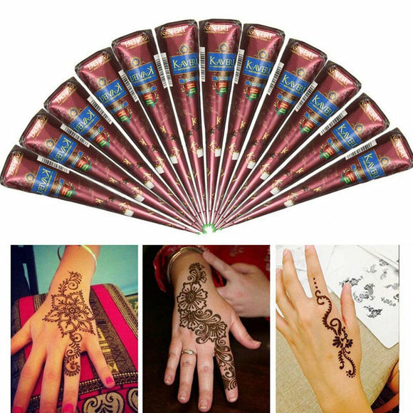3 Colors DIT Tattoo Tools Natural Herbal Henna Cones Temporary Tattoo Body Art Paint Mehandi Ink Semi-permanent