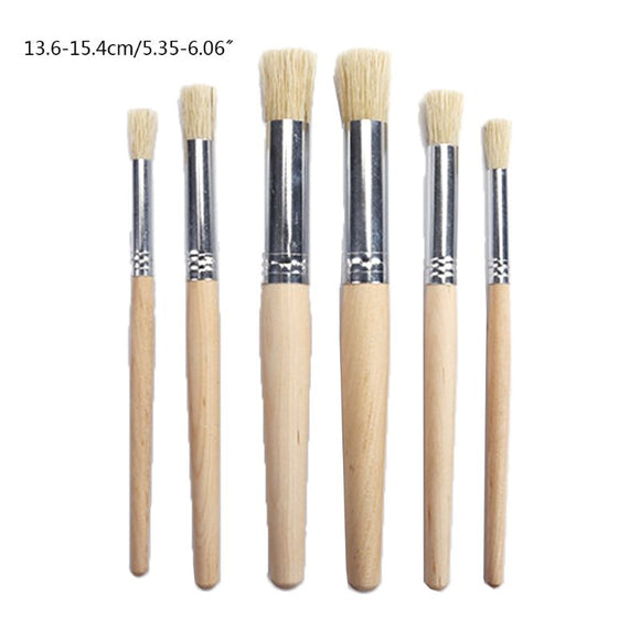 6Pcs Watercolor Painting Stencil Brush Different Size Wooden Handle Kids Student Professional Art Supplies