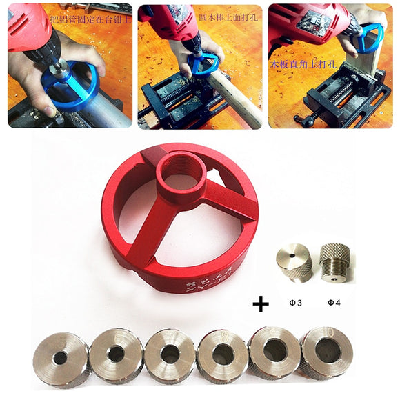 Woodworking Aluminum Alloy 90 Degree Drill Guide 3/4/5/6/7/8/9/10mm Drill Bit Hole Puncher Locator Jig Hinged Hole Opener Tools