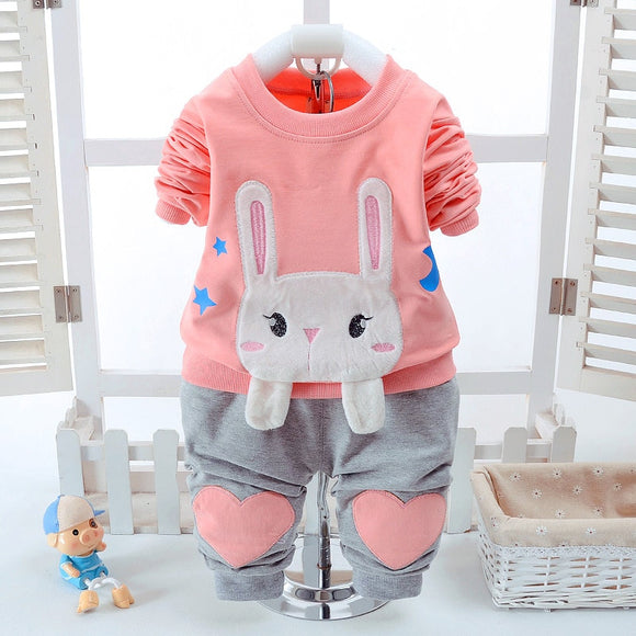 2017 Infant Clothes Toddler Children Spring Baby Girls Clothing Sets Rabbit Loves Patter T-shirt 2pcs Clothes Sets Girls Sets