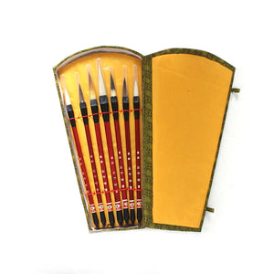 7PCS Chinese Calligraphy Brush Pen add Storage Box Wool Hair Painting Brushes Set for School Darwing Art Supplies