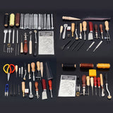 Leather Craftsman Tools for Making Leather Bags, Sewing Carving Printing Punching Cutting Tanned Leather Craft Tool Set Kit