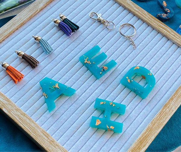 Resin Letter Key Chains and Charms