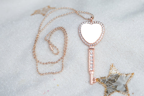 Key to the Heart Sublimation Blank Necklace