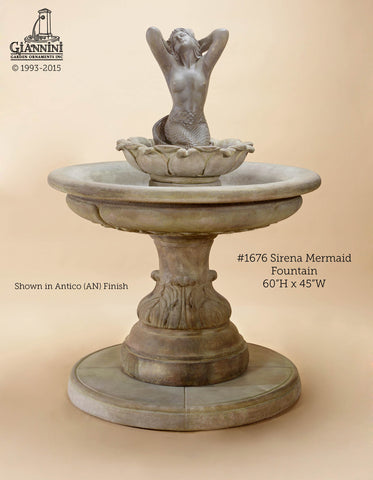 Giannini Garden Sirena Mermaid Concrete Wall Outdoor Fountain 1676