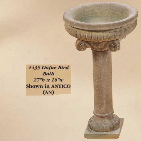 Giannini Garden Dafne Bird Bath Outdoor Cast Stone 435