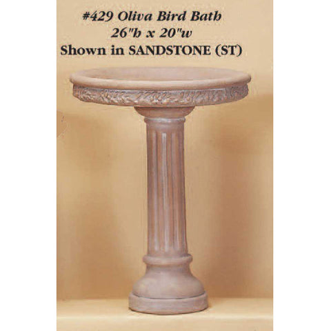 Giannini Garden Olivia Bird Bath Outdoor Cast Stone 429