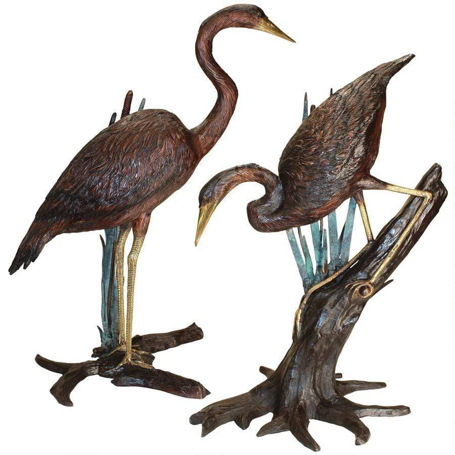 Design Toscano Garden Statues Design Toscano Set of Two Standing and Fishing Herons in Reeds Bronze Statue KW98111