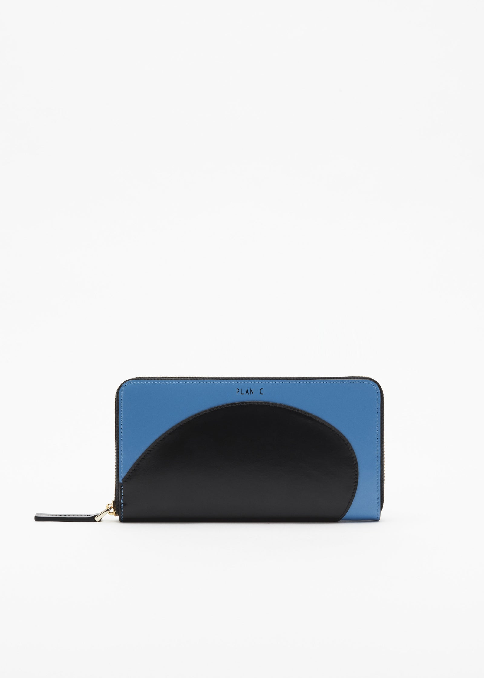 COLOUR BLOCK ZIP AROUND BLUE WALLET