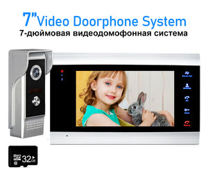 AnjieloSmart 7'' LCD Video Doorbell Intercom System Motion Detection Record with 32G Memory SD Card Home Access Control System