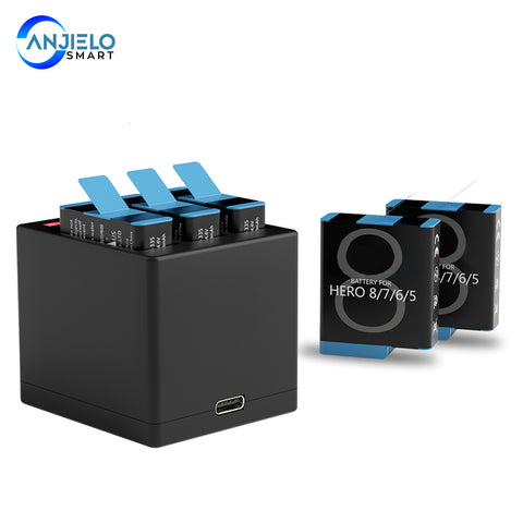 AnjieloSmart Replacement Batteries and Charger for GoPro Hero 8 Hero 7 Black Hero 6