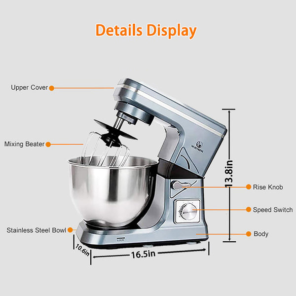 AnjieloSmart Stand Mixer 1000W Tilt-Head 5.3QT 6 Variable Speed Dough Mixer Electric