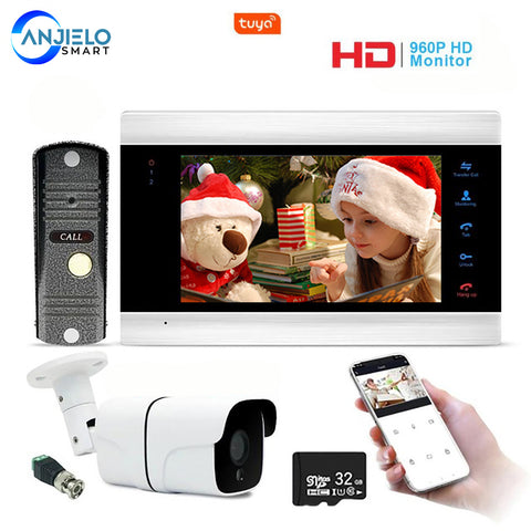 AnjieloSmart New 7 Inch Video Doorbell WiFi Door Phone Intercom System with 720P AHD Wired Doorbell Camera Remote Unlock