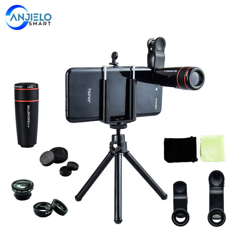 4-1 10x Zoom Telephoto Lens Fisheye Wide Angle Macro with Phone Holder + Tripod